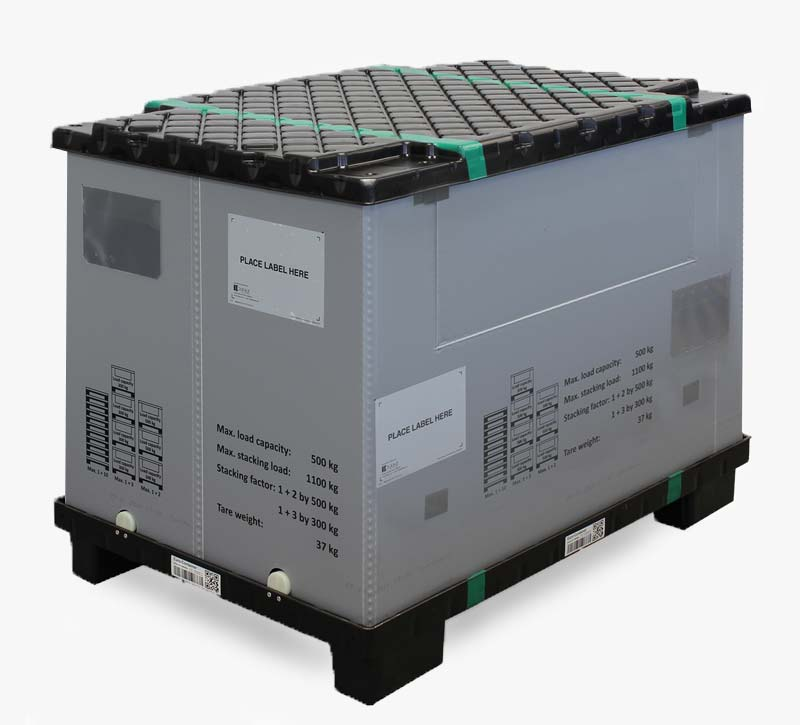 Large load carrier MegaPack F-GIBOX Standard is the full-plastic alternative to steel pallet cages