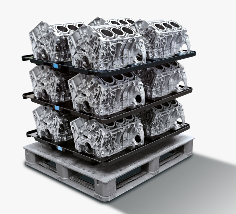 Vacuum-thermoformed dividers for V6 engine blocks