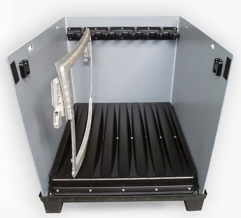 Large load carrier MegaPack OMEGA 1200 x 1000 mm with twin-sheet inserts for the storage of metal frames